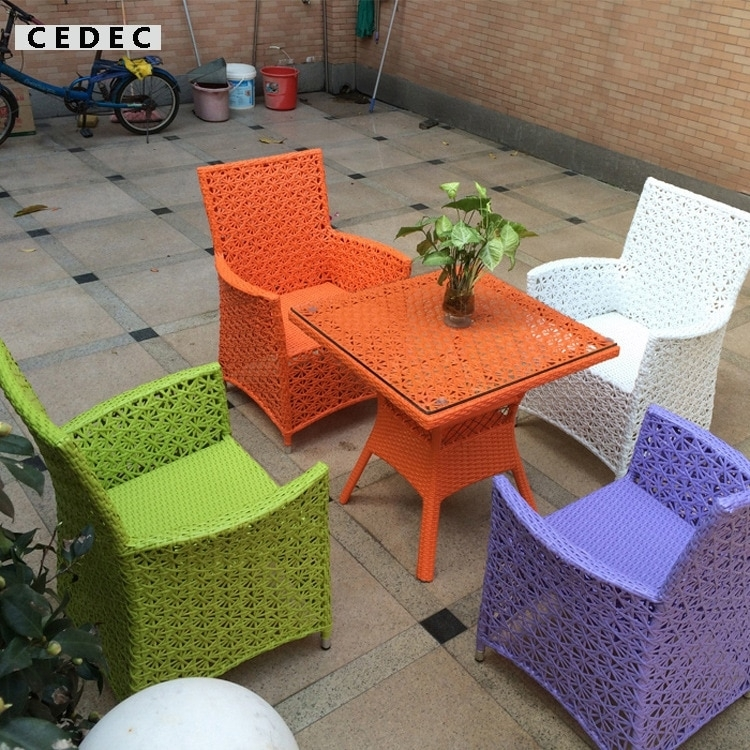 5 Pieces Modern Wicker Pe Rattan Outdoor Patio Dining Table Set For Wicker And Glass Dining Tables (Image 2 of 25)