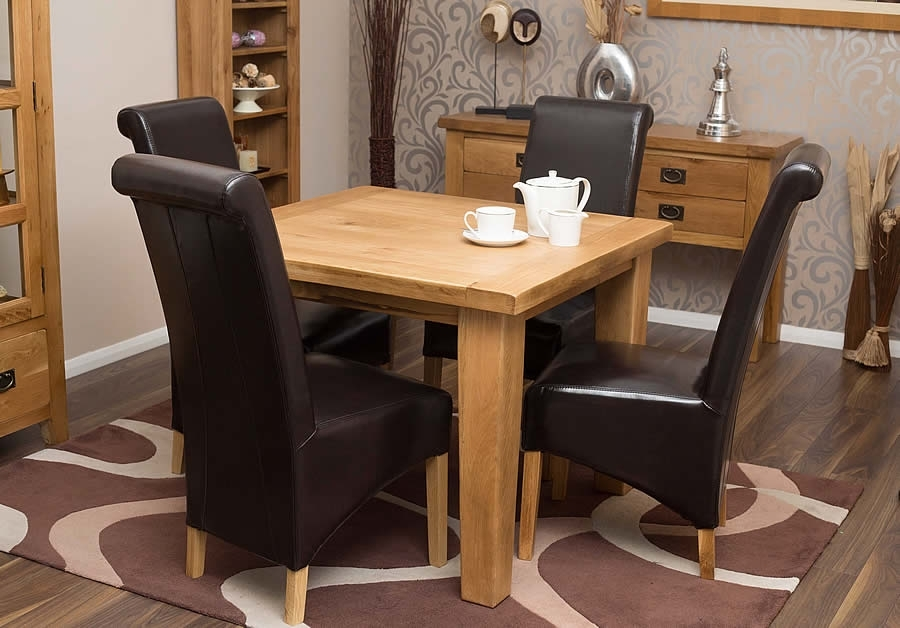 50% Off Square Oak Dining Table And Chairs | Hampshire Rustic Oak Throughout Square Oak Dining Tables (Image 2 of 25)