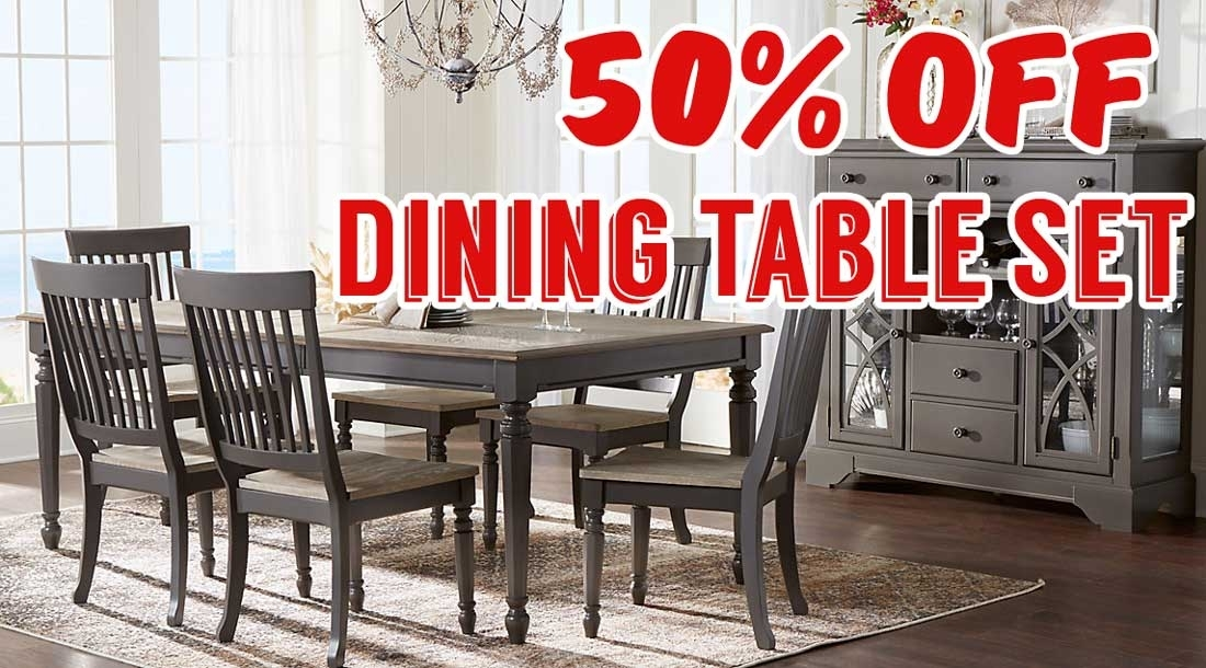 50 Percent Off Cindy Crawford Home Ocean Grove Gray 5 Pc Dining Room With Crawford 7 Piece Rectangle Dining Sets (Photo 25 of 25)