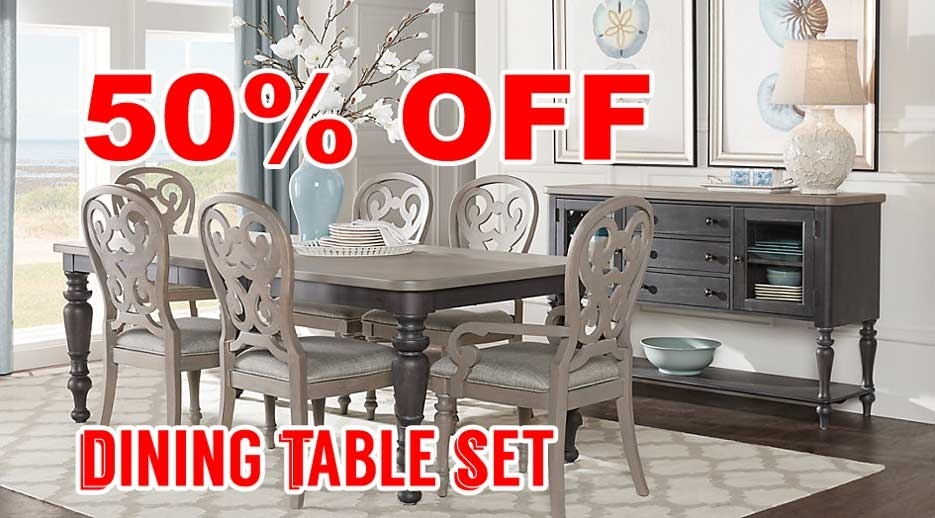 50 Percent Off Discount Cindy Crawford Home Coastal Breeze Charcoal with regard to Crawford 6 Piece Rectangle Dining Sets