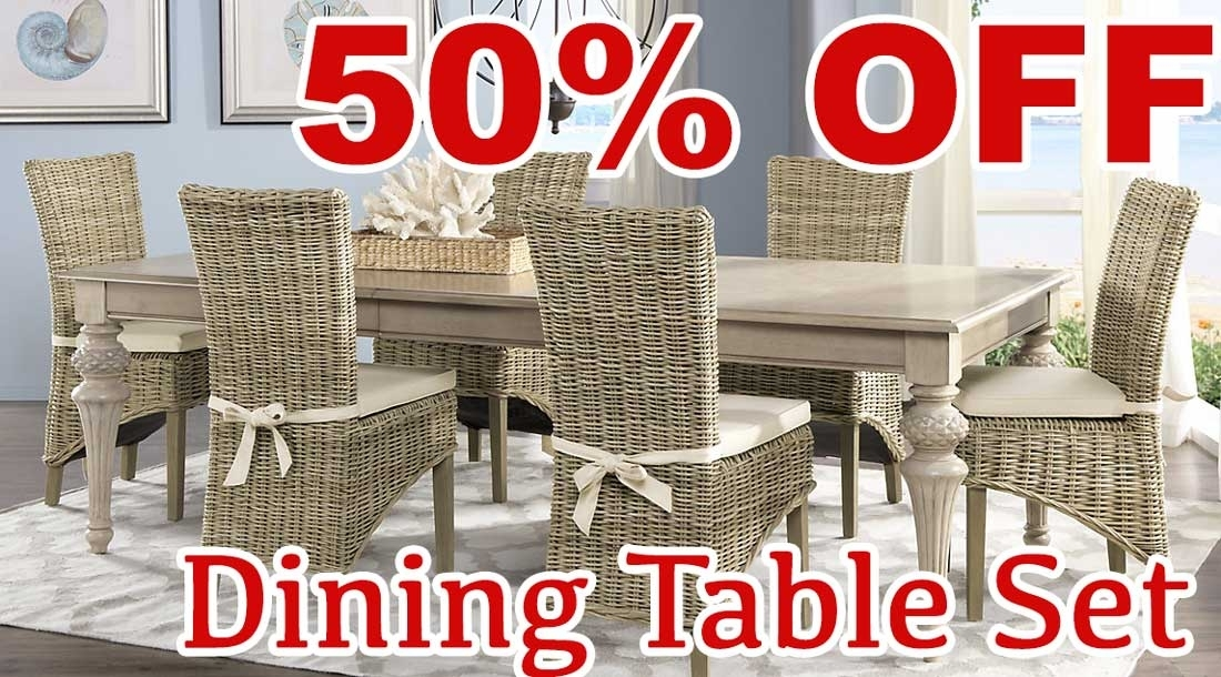 50 Percent Off Discount Cindy Crawford Home Key West Sand 5 Pc Intended For Crawford 7 Piece Rectangle Dining Sets (Photo 5 of 25)