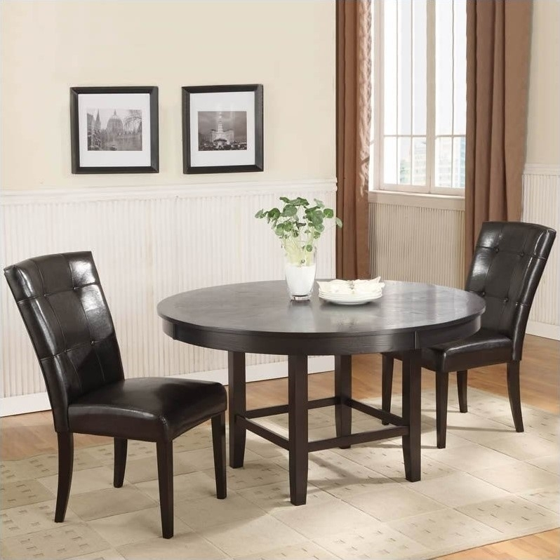52 54 Round Dining Table Set, Espresso 54Quot; Round Pedestal Dining With Caira Black Round Dining Tables (Image 2 of 25)