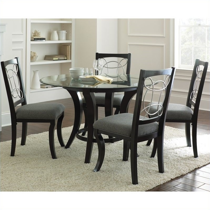 55 Black Dinner Table Set, Regal Black Dining Table Set intended for Macie 5 Piece Round Dining Sets