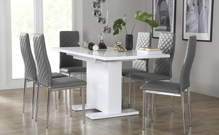 57 White Dining Table Set, 7Pc Lamia White High Gloss Lacquer Dining intended for Smartie Dining Tables and Chairs