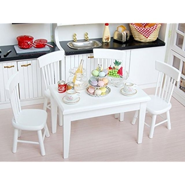 5Pcs 1/12 Wooden Kitchen Dining Table Chair Set Barbie Dollhouse Inside Dining Table Chair Sets (Image 1 of 25)