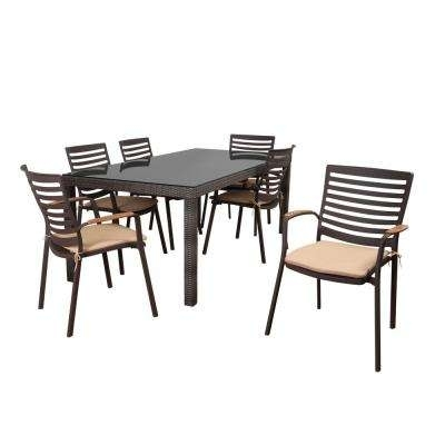 6 7 Person – Cushions – Stackable – Patio Dining Sets – Patio Dining For Crawford 7 Piece Rectangle Dining Sets (Photo 13 of 25)