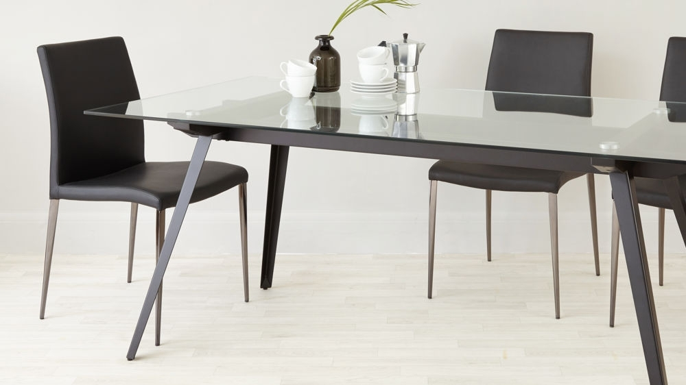 6 – 8 Seater Glass Dining Table | Black Powder Coated Legs For Glasses Dining Tables (Image 2 of 25)