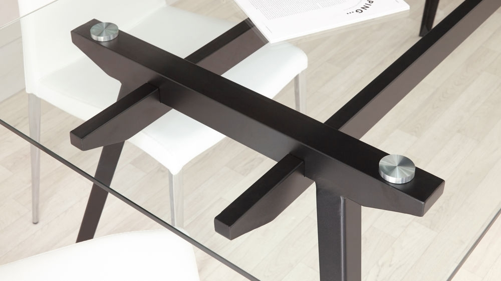 6 - 8 Seater Glass Dining Table | Black Powder Coated Legs pertaining to Glass 6 Seater Dining Tables