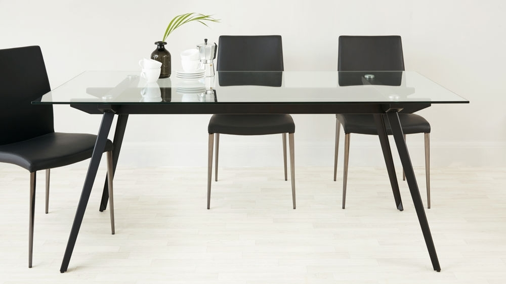 6 – 8 Seater Glass Dining Table | Black Powder Coated Legs With Glass Dining Tables With Wooden Legs (Image 3 of 25)