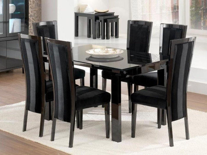 6. Bel Air Dining Table In High Gloss Black within Black Gloss Dining Room Furniture