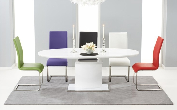 6. Oval And Round High Gloss Dining Table Sets for White Gloss Dining Room Tables
