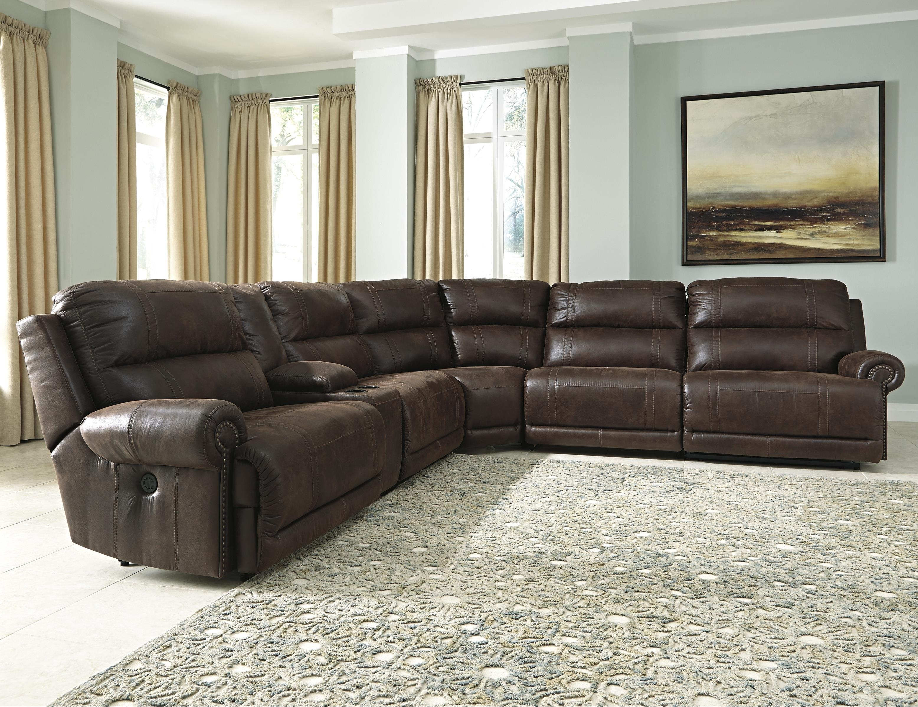6 Piece Faux Pu Leather Sectional Reclining Sofa | Baci Living Room In Denali Charcoal Grey 6 Piece Reclining Sectionals With 2 Power Headrests (Image 1 of 25)
