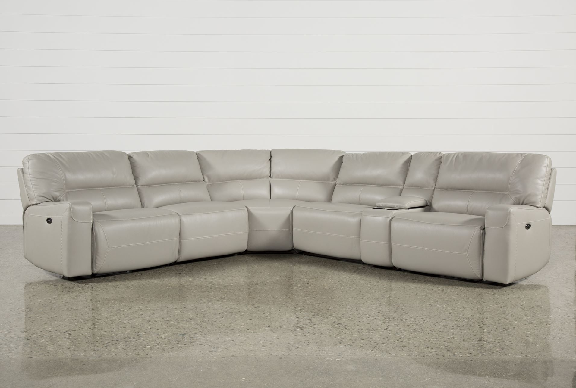 6 Piece Power Reclining Sectional, Renaldo, Grey, Sofas | Reclining in Waylon 3 Piece Power Reclining Sectionals