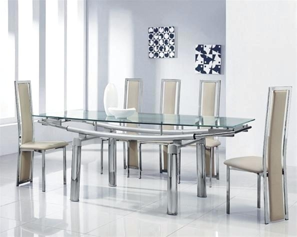 6 Piece Round Dining Set Round Glass Dining Table And Chairs Round With Regard To Extendable Glass Dining Tables And 6 Chairs (Image 1 of 25)