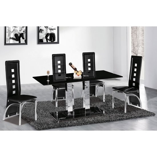 6 Reasons To Buy Dining Table And Chairs In Black Glass With Regard To Glass Dining Tables 6 Chairs (View 5 of 25)