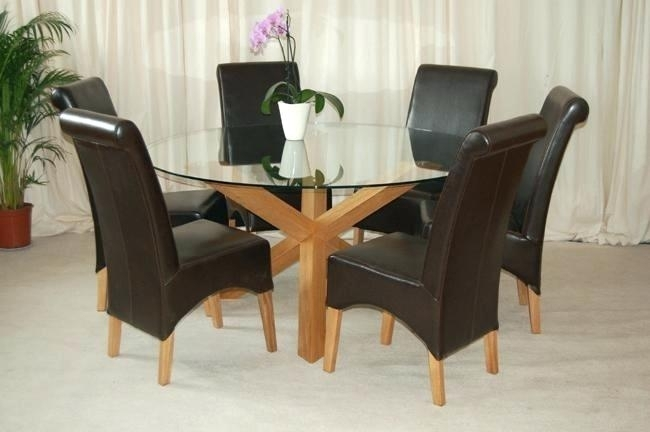 6 Seat Dining Table Incredible Dining Table 6 Chairs Round Glass within Round Glass and Oak Dining Tables