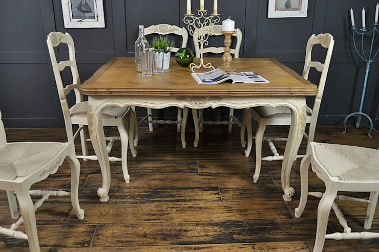 6 Seater Cream Extending Shabby Chic French Dining Setthe with Shabby Chic Cream Dining Tables and Chairs