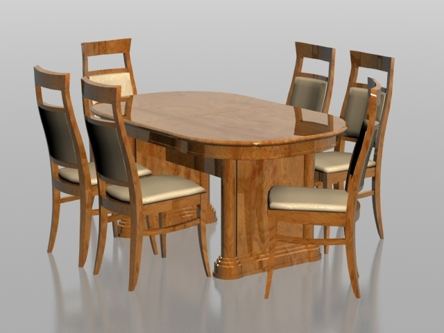 6 Seater Dining Set 3D Model 3Dsmax Files Free Download - Modeling in 6 Seat Dining Tables and Chairs
