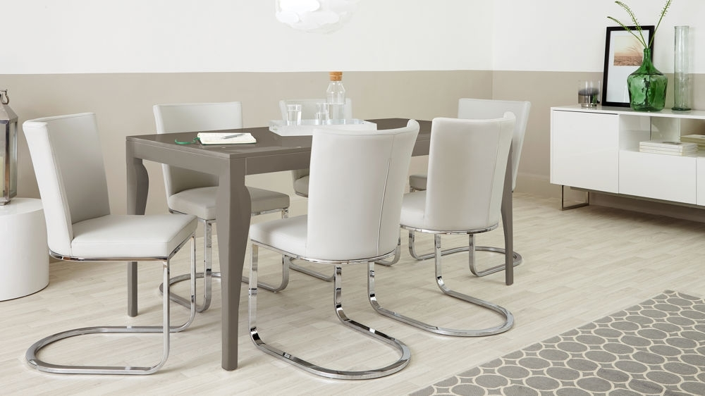 6 Seater Dining Set | Cantilever Chairs | Taupe Grey Gloss Throughout 6 Seat Dining Tables And Chairs (Image 3 of 25)