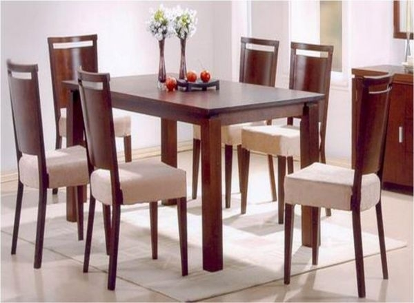 6 Seater Dining Table With Chairs, Dark Walnut | Souq - Uae for 6 Seat Dining Table Sets