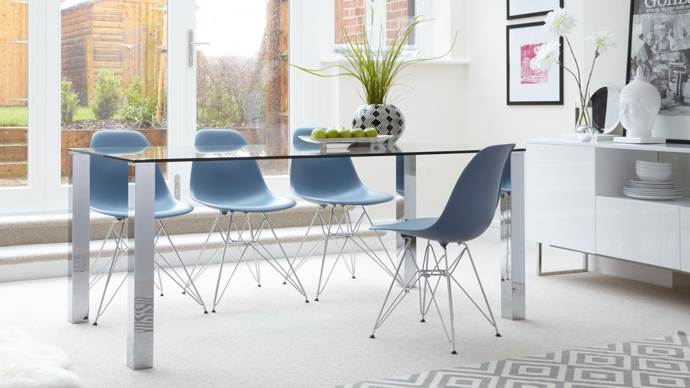 6 Seater Glass Dining Table | Eames Wire Frame Dining Set Uk Within Glass 6 Seater Dining Tables (Image 6 of 25)