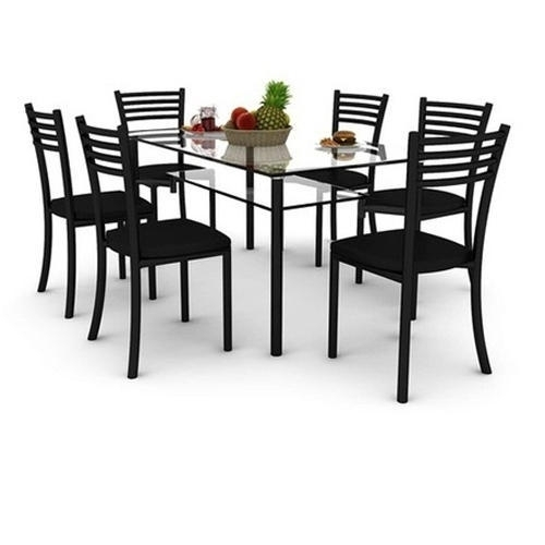 6 Seater Glass Dining Table Set, Glass Dining Room Table, Glass with 6 Seat Dining Table Sets