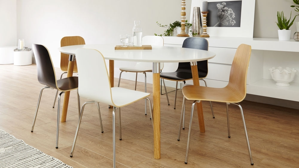 6 Seater Matt White Dining Table | Oak And Chrome Legs | Uk throughout Sleek Dining Tables