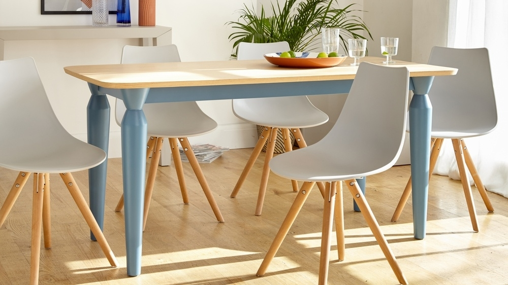 6 Seater Oak And Powder Blue Dining Table | Uk within Oak 6 Seater Dining Tables