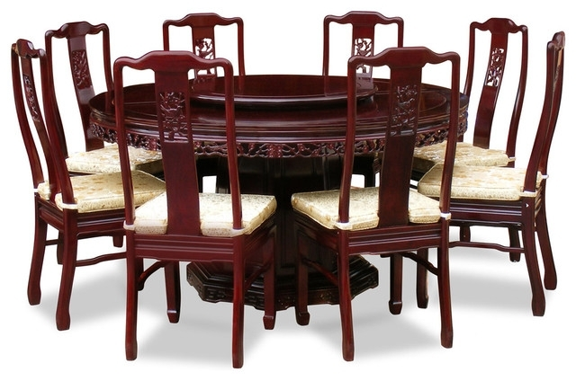 "60"" Rosewood Flower And Bird Design Round Dining Table With 8 Chairs With Regard To 8 Seater Round Dining Table And Chairs (Image 2 of 25)"