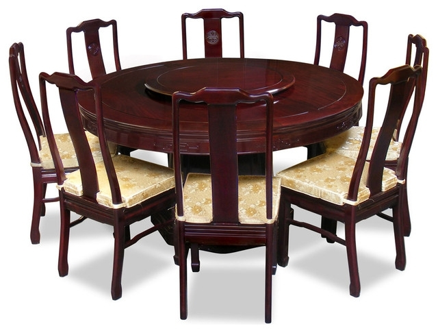 "60"" Rosewood Longevity Design Round Dining Table With 8 Chairs for Asian Dining Tables"