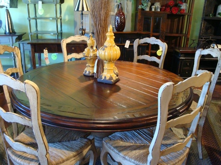 60Quot Round Hand Carved Pedestal Dining Table French Country Wicker Regarding Pedestal Dining Tables And Chairs (Photo 13 of 25)