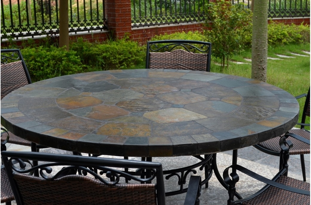 63'' Round Slate Outdoor Patio Dining Table Stone Oceane With Regard To Garden Dining Tables (View 12 of 25)