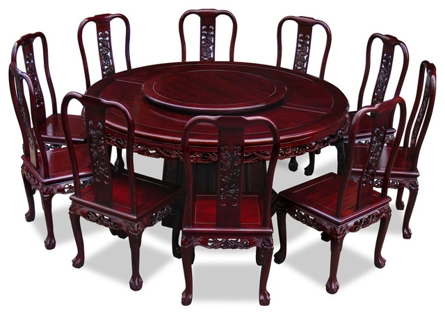 "66"" Rosewood Imperial Dragon Design Round Dining Table With 10 with Dining Table and 10 Chairs"