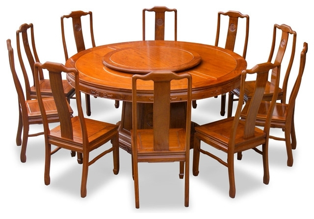 "66"" Rosewood Longevity Design Round Dining Table With 10 Chairs Throughout Dining Table And 10 Chairs (Image 12 of 25)"