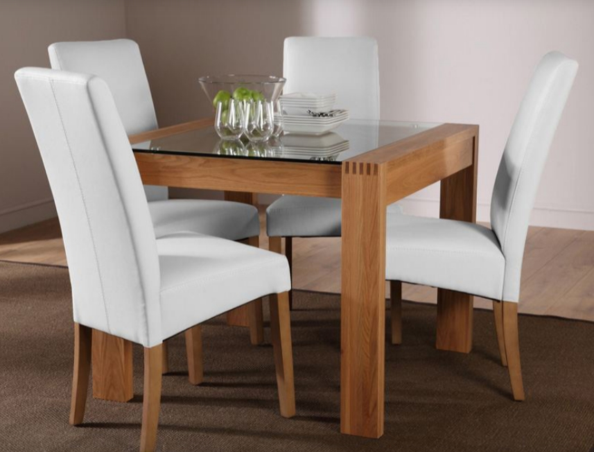 7 Contemporary Glass Square Dining Tables – Cute Furniture Uk Regarding Oak Glass Dining Tables (Image 2 of 25)