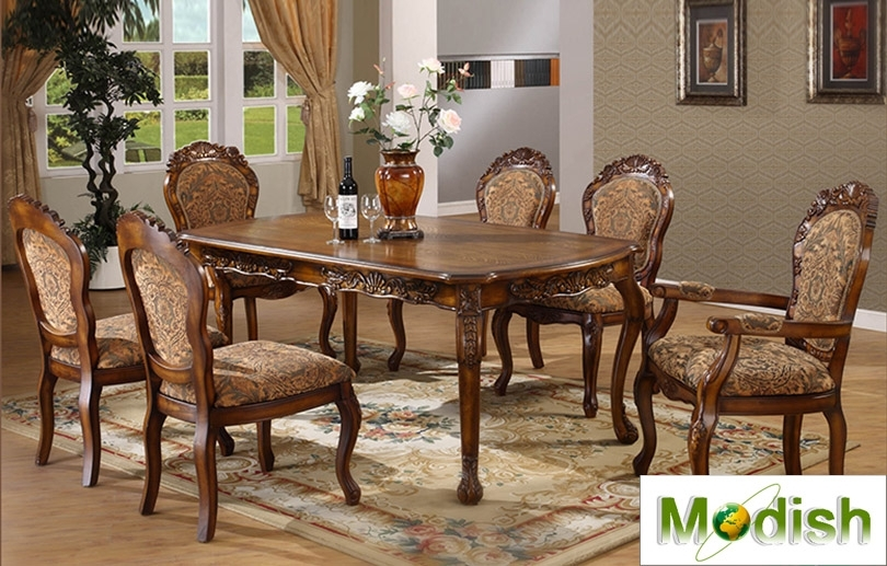 7 Pc Luxury Solid Wood Carving Dining Table/chair Set Antique Regarding Dining Table Chair Sets (View 18 of 25)