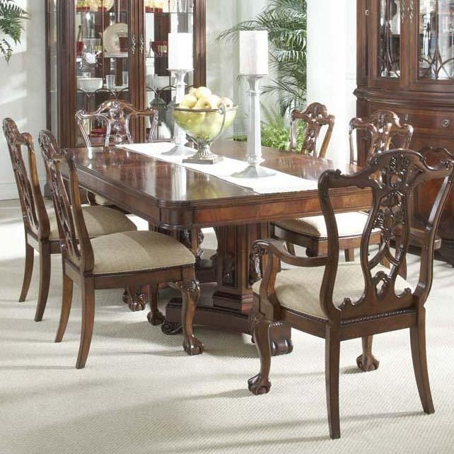 7 Piece Dining Room Set With Elegant Double Pedestal Table And Ball within Parquet 7 Piece Dining Sets