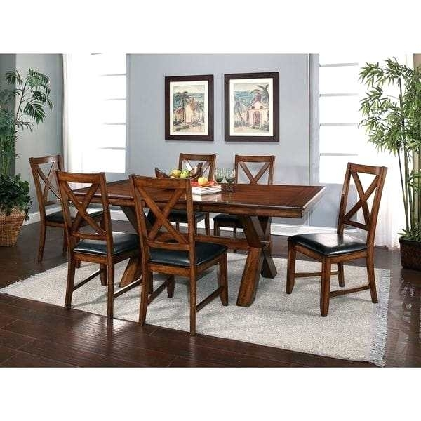 7 Piece Dining Set With Leaf Motif – Pixello Inside Partridge 7 Piece Dining Sets (Image 5 of 25)