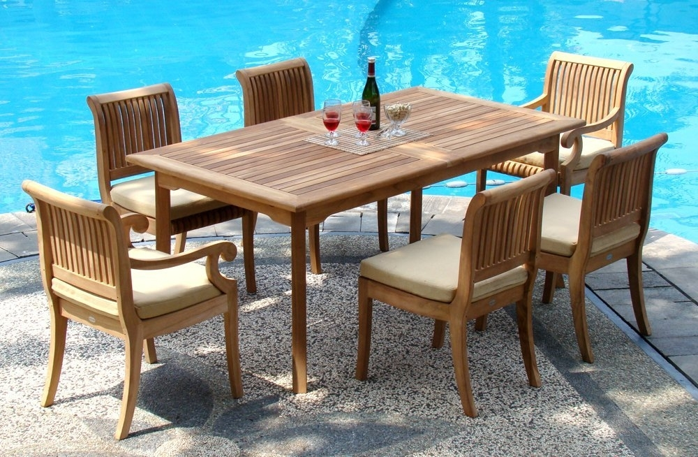 "7 Piece Grade-A Teak Dining Set – 94"" Double Extension Rectangle for Outdoor Dining Table And Chairs Sets"