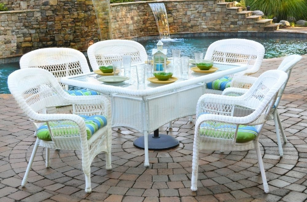 7 Piece Outdoor Dining Set White Wicker Furniture | Tortuga Outdoor within Outdoor Tortuga Dining Tables