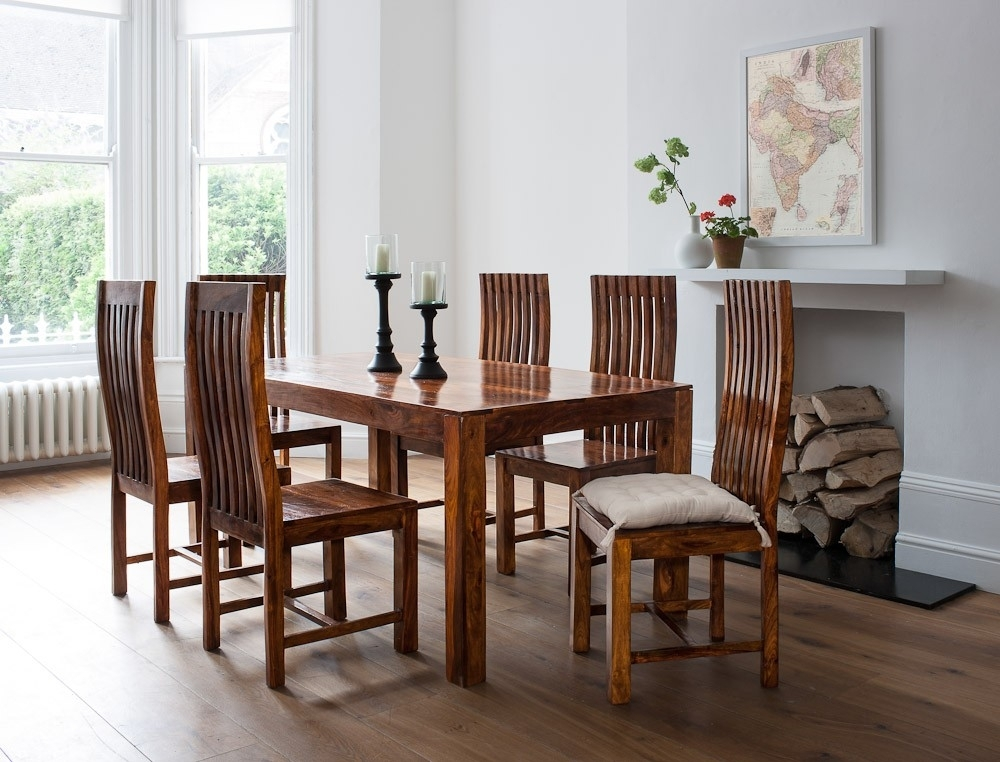 7 Piece Solid Wood Dining Set| Casa Bella Sheesham Indian Furniture With Regard To 6 Seat Dining Table Sets (Image 8 of 25)