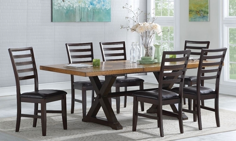 7 Piece Two Tone Farmhouse Dining Set | Haynes Furniture Within Parquet 6 Piece Dining Sets (Image 3 of 25)