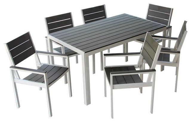 7 Piece Winston Outdoor Patio Dining Set White Aluminum Frame, Gray inside Jaxon 7 Piece Rectangle Dining Sets With Wood Chairs