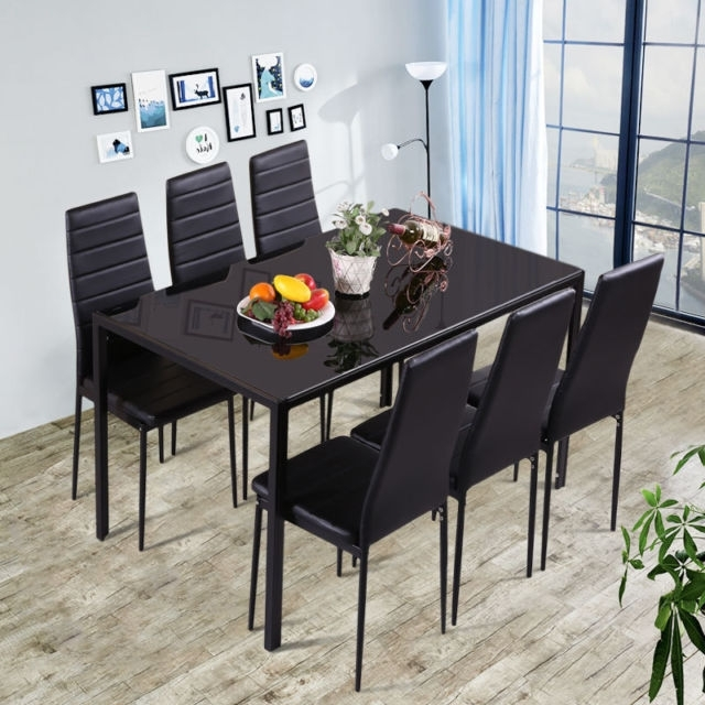 7 Pieces Dining Table Black Glass Table And 6 Chairs Faux Leather intended for Dining Tables Black Glass