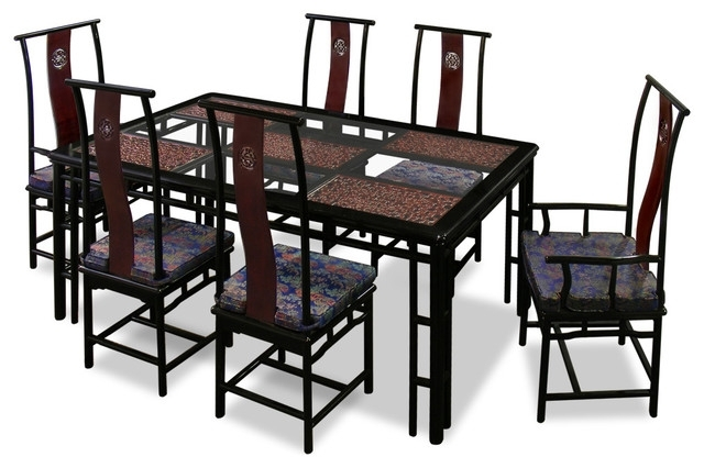 "74"" Rosewood Ming Style Dining Table With 6 Chairs - Asian - Dining for Asian Dining Tables"
