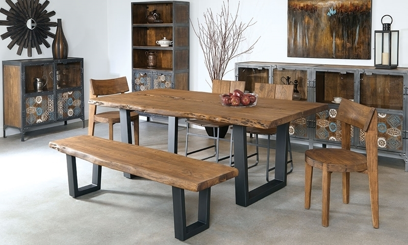 79-Inch Live Edge Solid Acacia Dining Table | Haynes Furniture in Acacia Dining Tables
