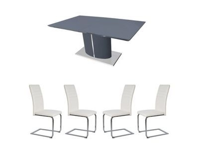 799.00 - Harveys Ramira Extending Dining Table & 4 White Alcora for Alcora Dining Chairs