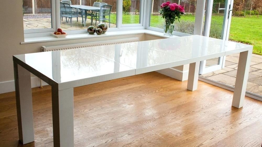 8 10 Seater Dining Table Large White Gloss Extending Dining Table For White Extending Dining Tables (Image 1 of 25)