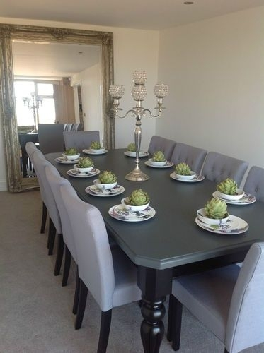 8 10 Seater Large Dining Table, High Gloss Black + Painted Top,made Within Black 8 Seater Dining Tables (Image 9 of 25)