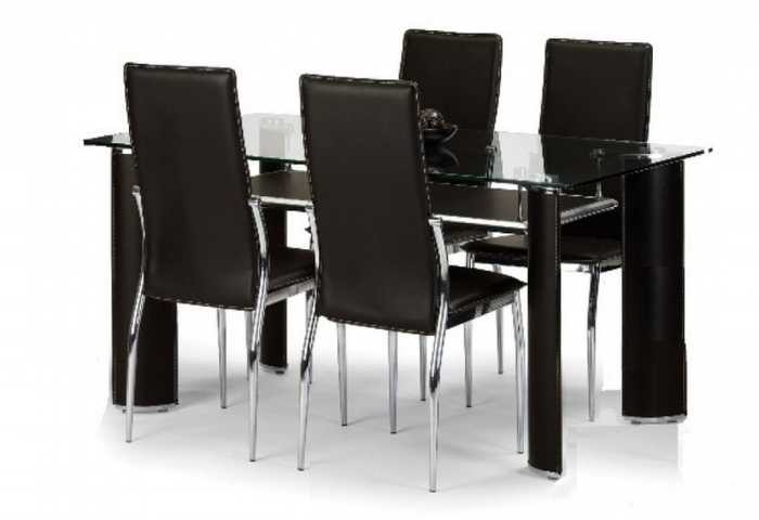 8. Brilliant Dining Table Set 4 Chairs Glass Dining Table Set 4 intended for Black Glass Dining Tables and 4 Chairs